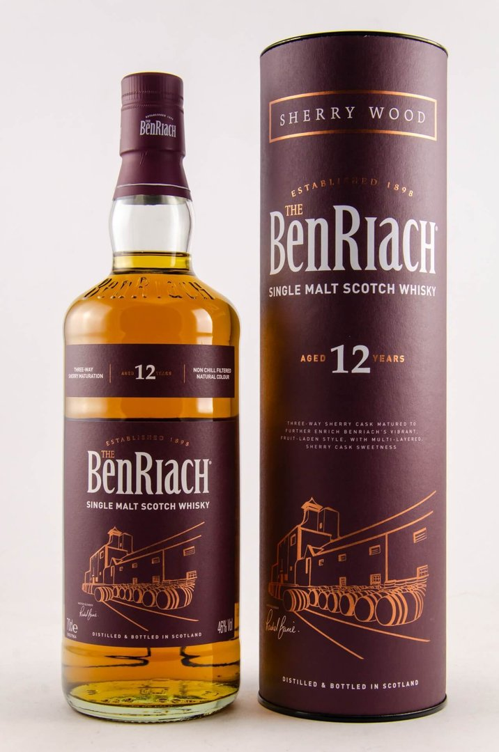BenRiach 12 Jahre Sherry Wood Single Malt Whisky 46% vol. - 0,7 Liter