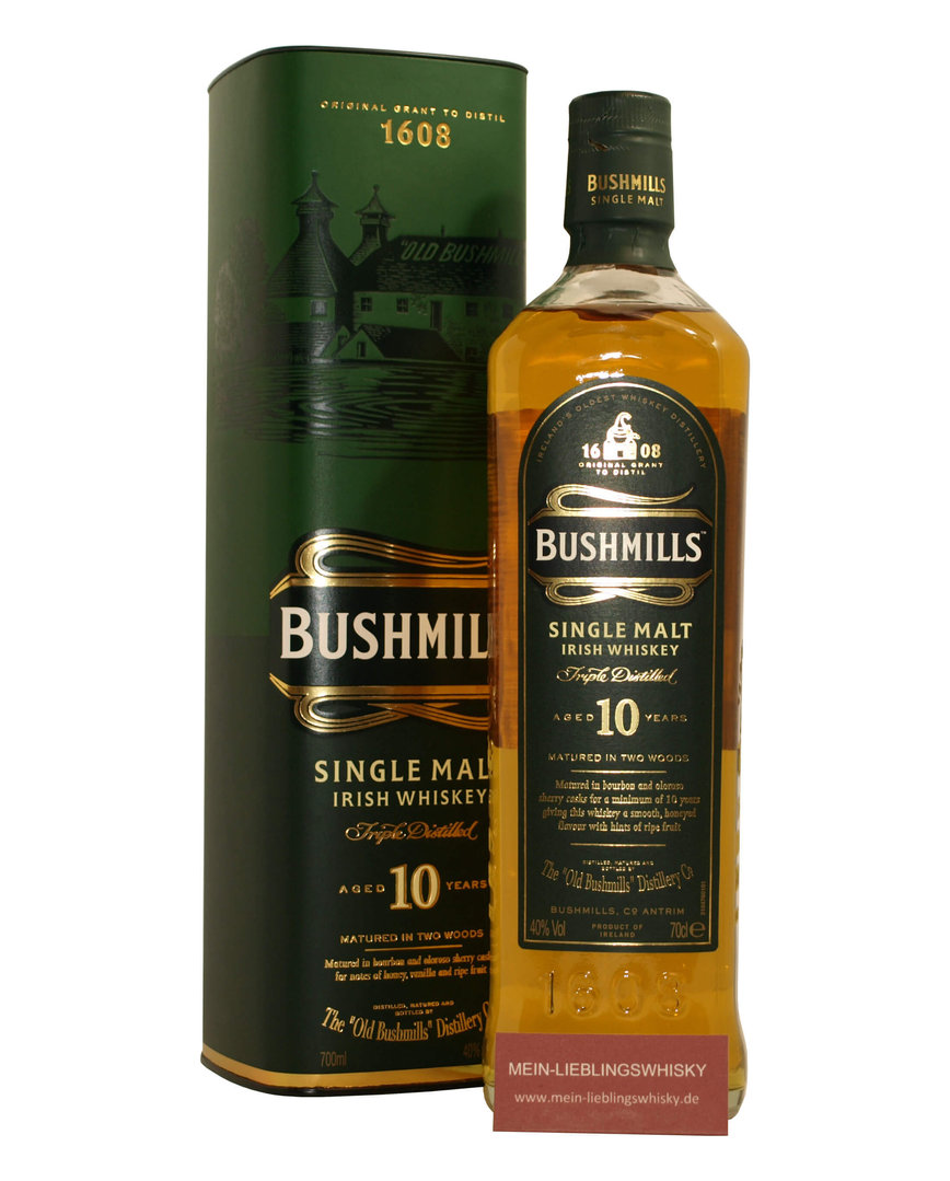 Bushmills 10 Jahre Irish Single Malt Whiskey 40,0% vol. - 0,7 Liter