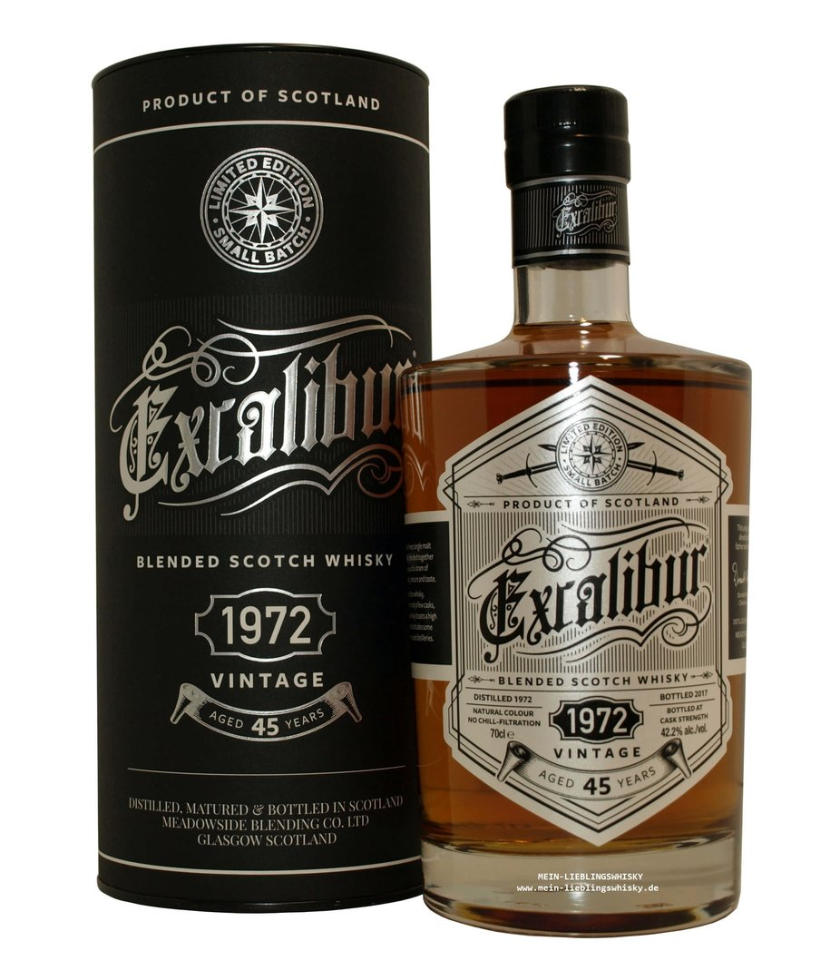 Excalibur Vintage 1972 Blended Malt Whisky 42,2% vol. 0,7 Liter