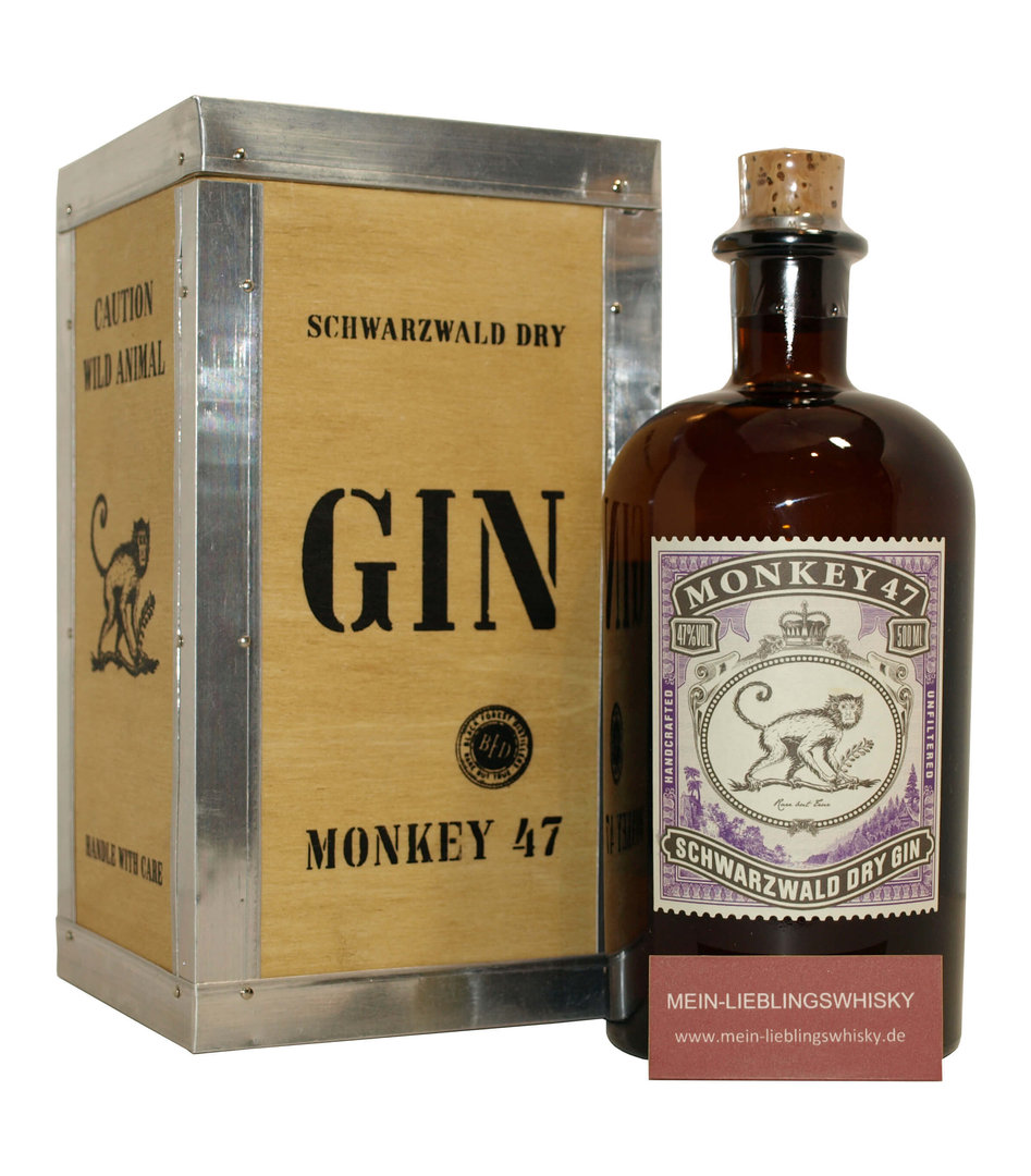 Monkey 47 Dry Gin in Holzbox 47,0% vol. - 0,5 Liter